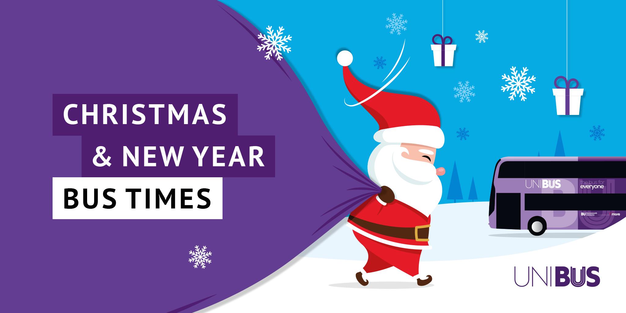 Image of Santa carrying his Christmas sack with text saying 'Christmas & New Year Bus Times'